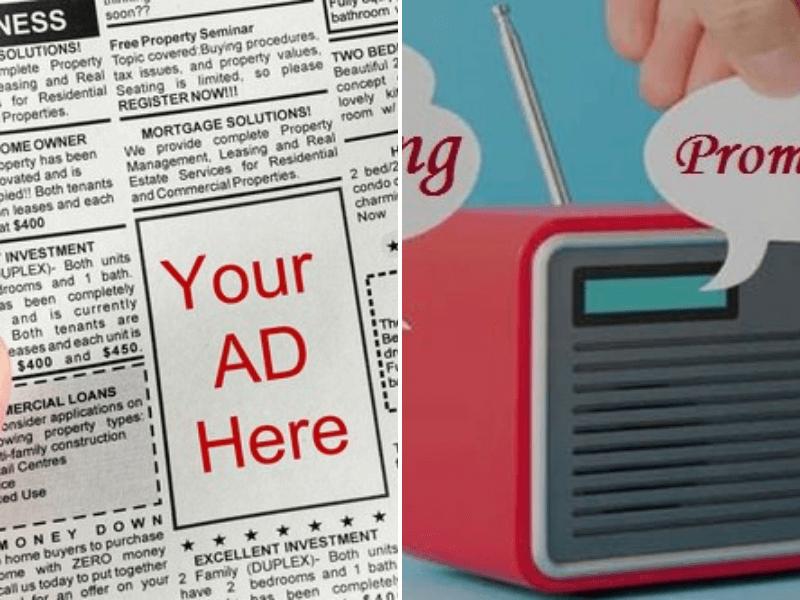 Newspaper and radio advertising